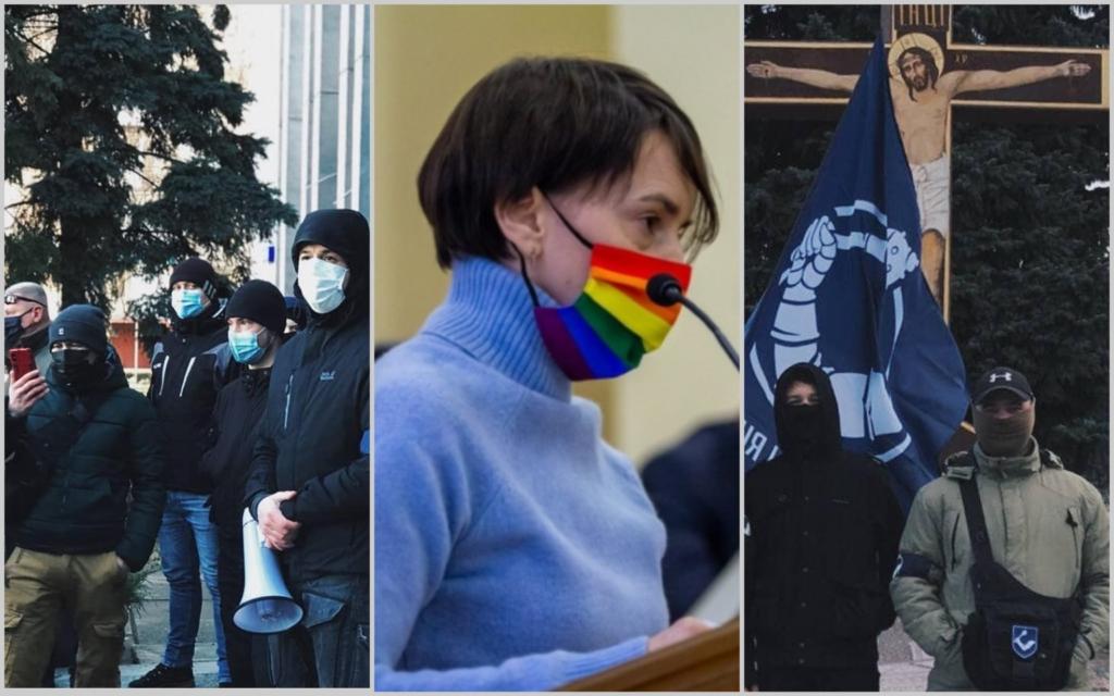 Рух «Традиція і порядок» пікетував Кременчуцьку міську раду, вимагаючи «звільнити» депутатку Ларису Гориславець
