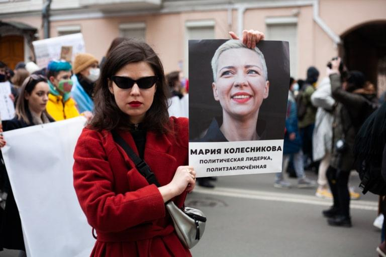 Учасниця Маршу із колони білоруських феміністок