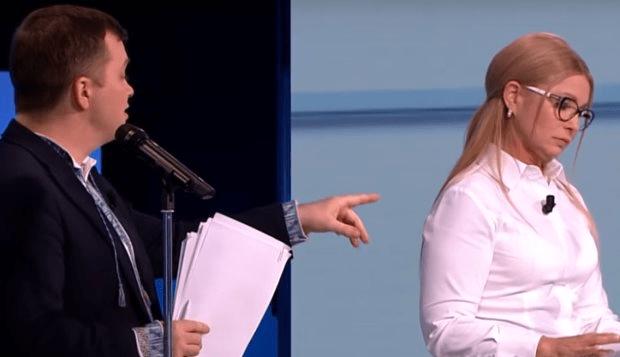 Юлія Тимошенко і Тимофій Мілованов в ефірі програми «Свобода слова», ICTV